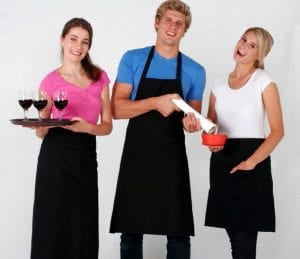 Waiters wearing Aprons